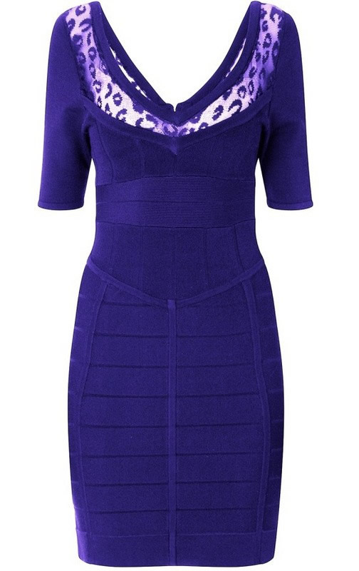 Herve Leger Purple V Neck Half Sleeve Dress