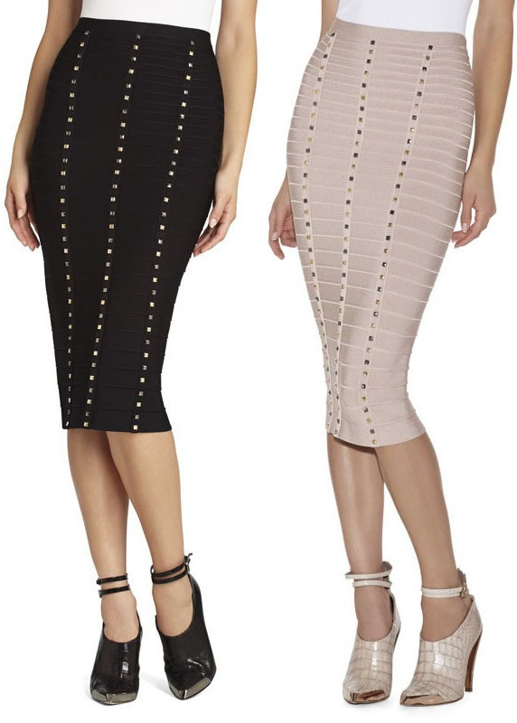 Herve Leger Black And Grey Beading Bandag Skirt