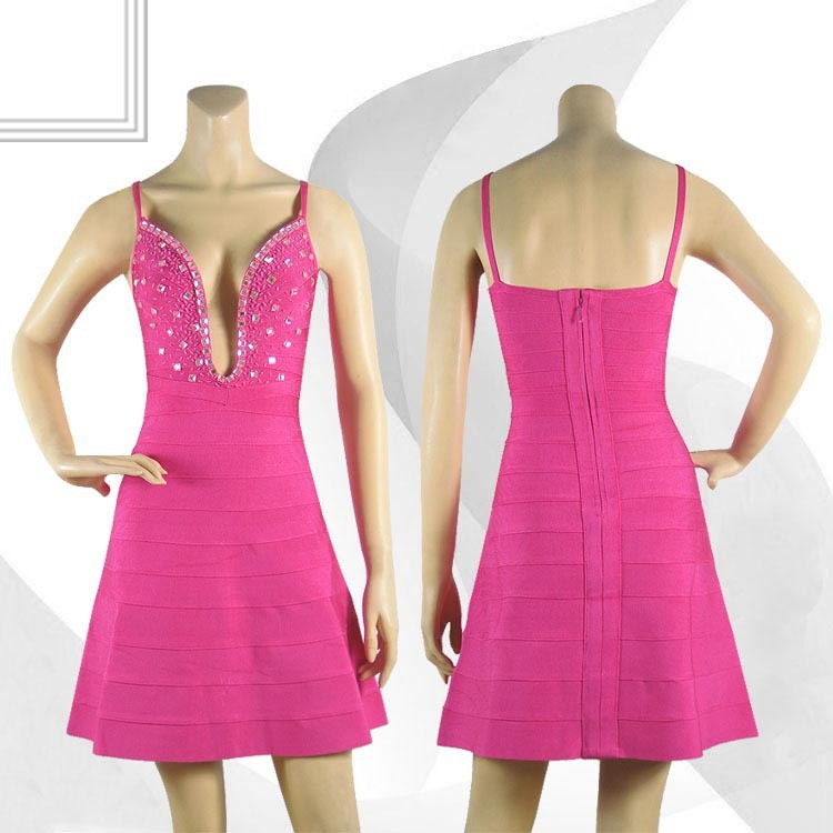 Herve Leger Pink V Neck Beading Dress