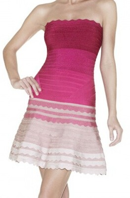 Herve Leger Pink Gradient Strapless A Line Dress