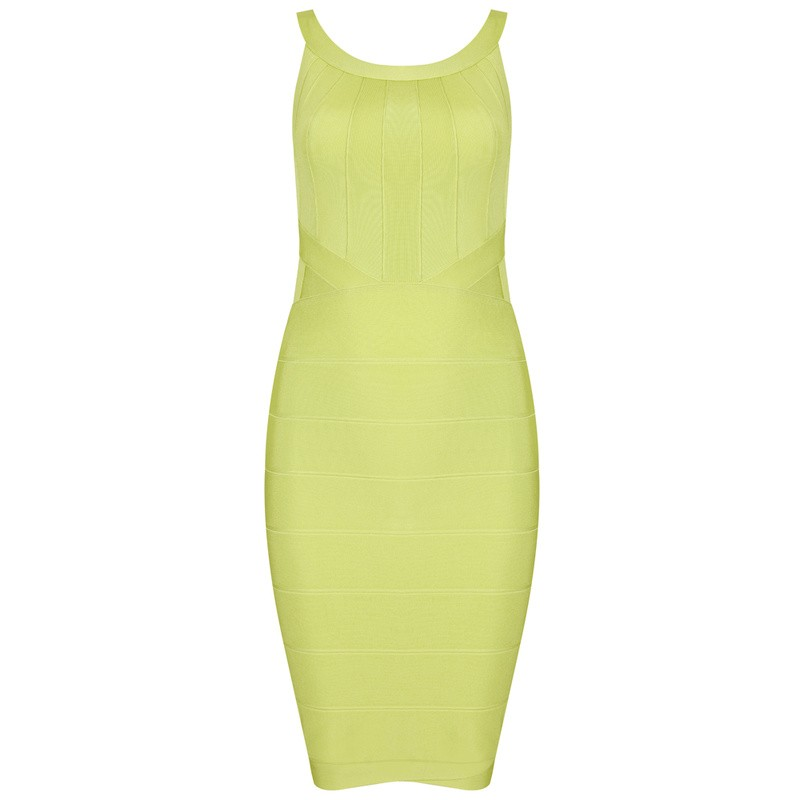 Herve Leger Light Green Halter Bandage Dress