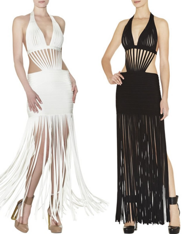 Herve Leger Black And White Deep V Neck Gown