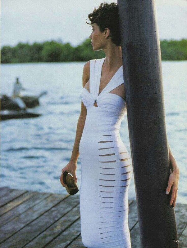 Herve Leger Black And White Deep V Neck Hollow Out Gown