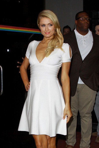 Herve Leger Paris Hilton Dress White A Line Cap Sleeve Dress