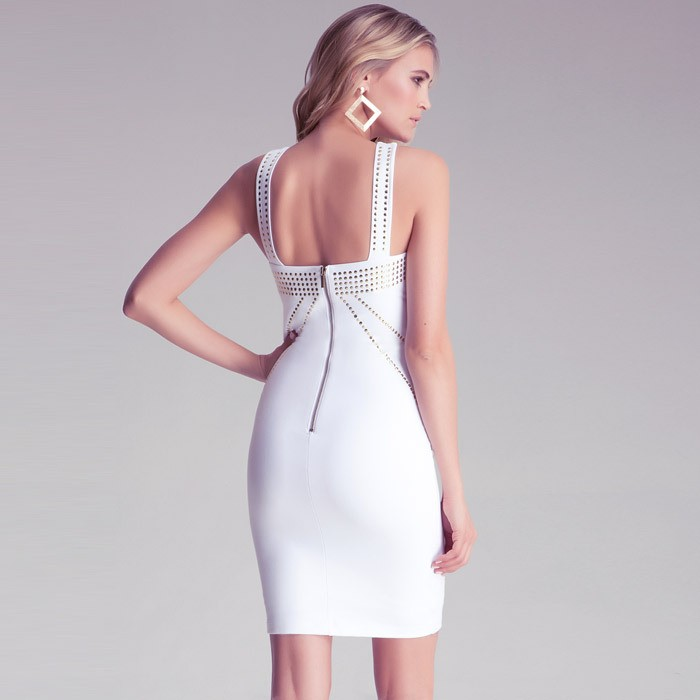 Herve Leger White Beading Halter Dress