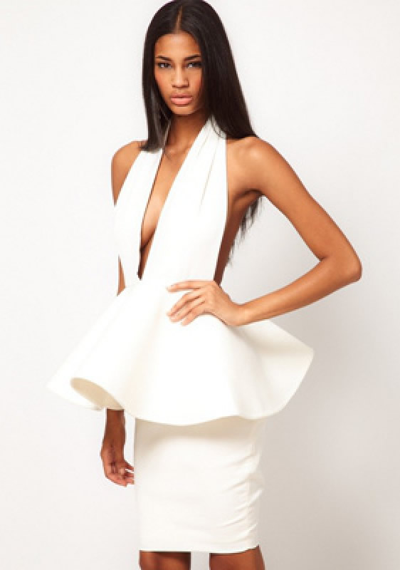 Herve Leger White V Neck Hollywood Dress