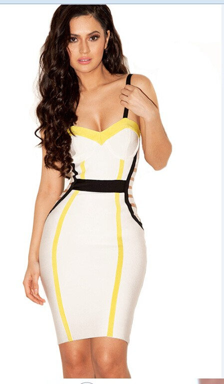 Herve Leger Black And White Colorblock Bandage Dress