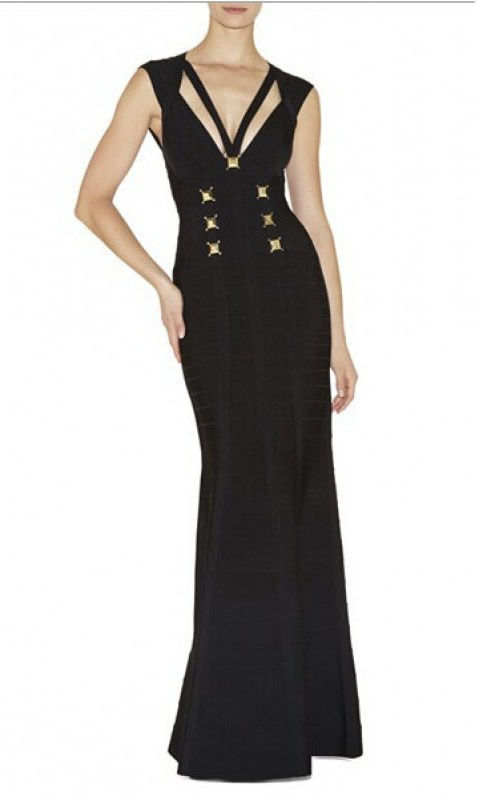 Herve Leger Black V Neck Open Back Bandage Gown