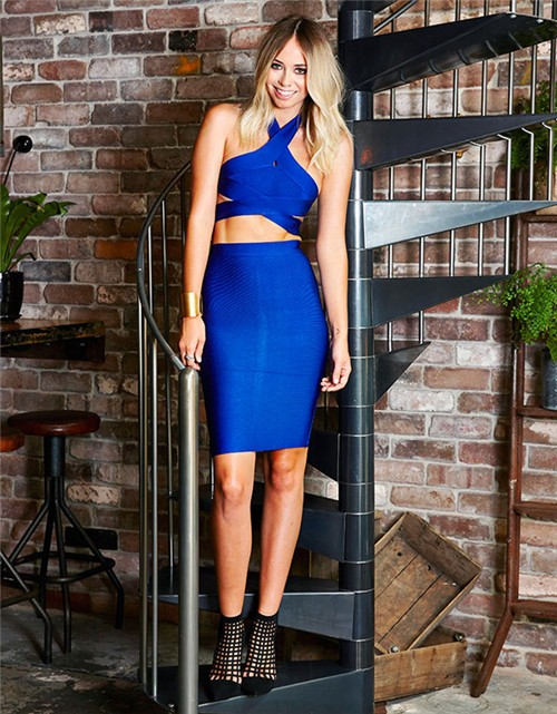Herve Leger Blue Halter Cutout Bandage Dress