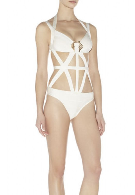 Herve Leger White V Neck One Piece Bandage Swimsuit