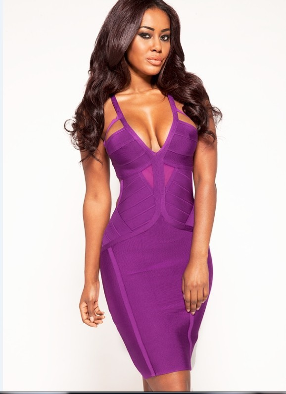 New Fashion Deep V Neck Purple Cocktail Dress