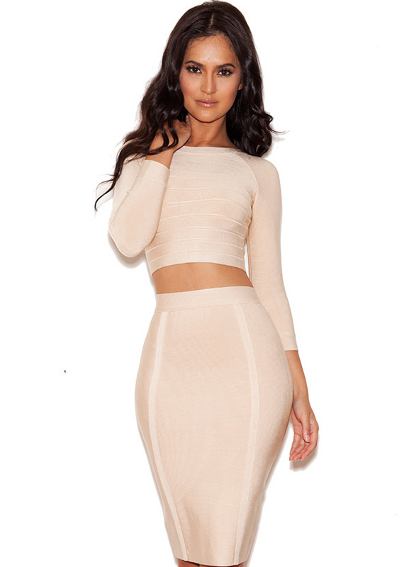 Herve Leger Beige Round Neck Two Pieces Bandage Dress