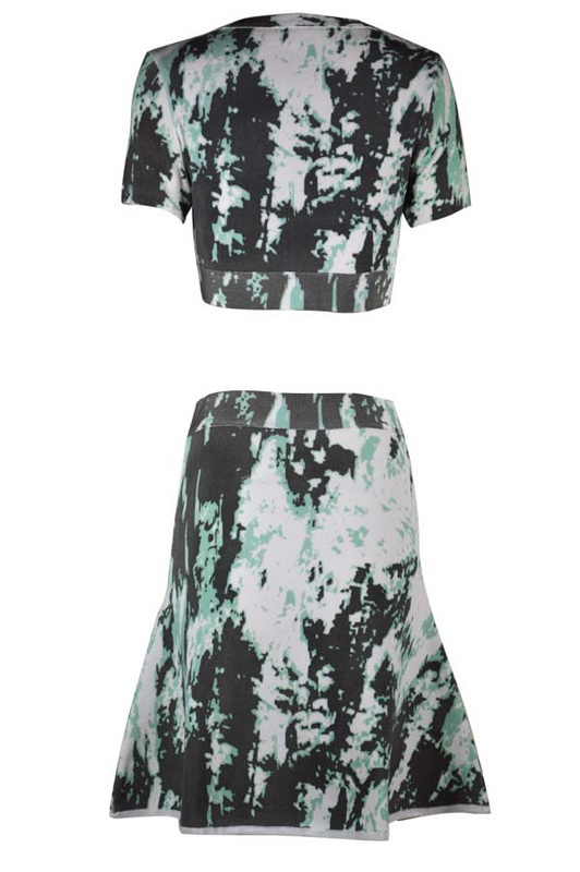 Herve Leger Black And Blue Art Printing Two Pieces Dress