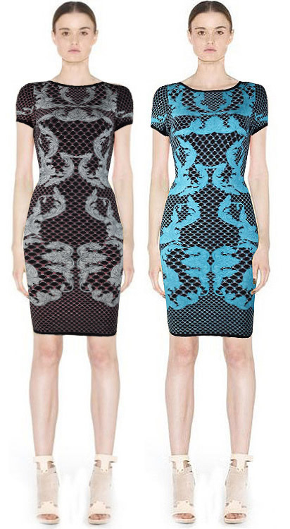 Herve Leger Black And Blue Multi Color Art Printing Bandage Dress