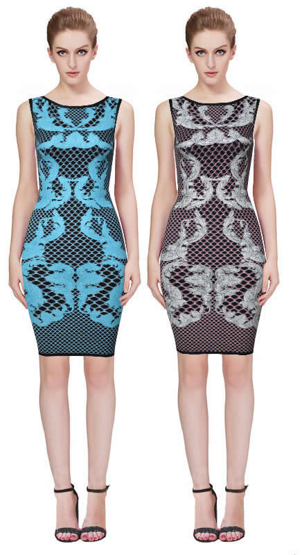 Herve Leger Black And Blue Multicolor Sleeveless Round Neck Dress