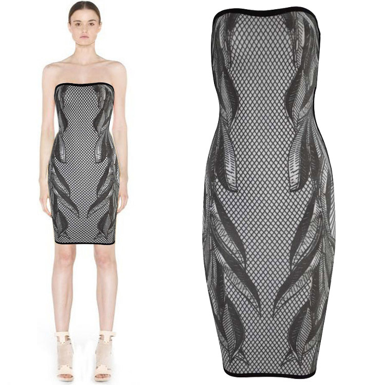 Herve Leger Black And Gray Art Printing Bandage Dress