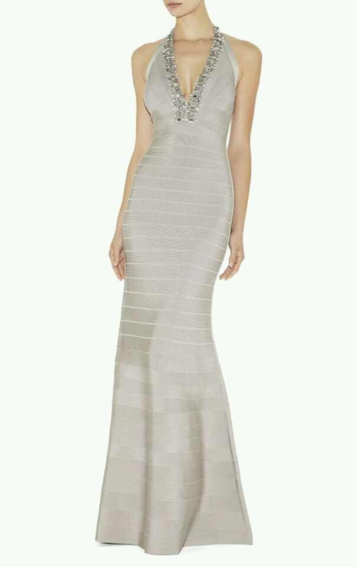 Herve Leger Black And Gray Multi Color Beaded Bandage Gown