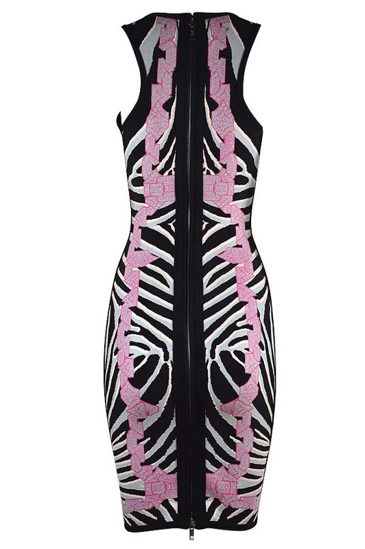 Herve Leger Black And Purple Color Block Art Printing Dress