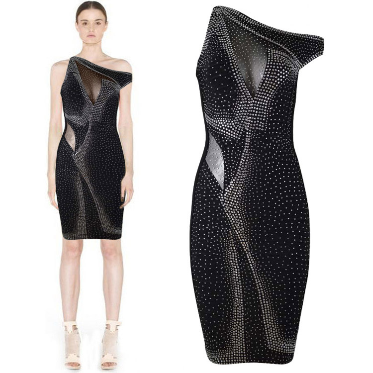 Herve Leger Black And Purple Multi Color Beaded Dress