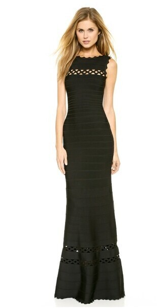 Herve Leger Black And Red Multi Color Round Neck Sleeveless Gown