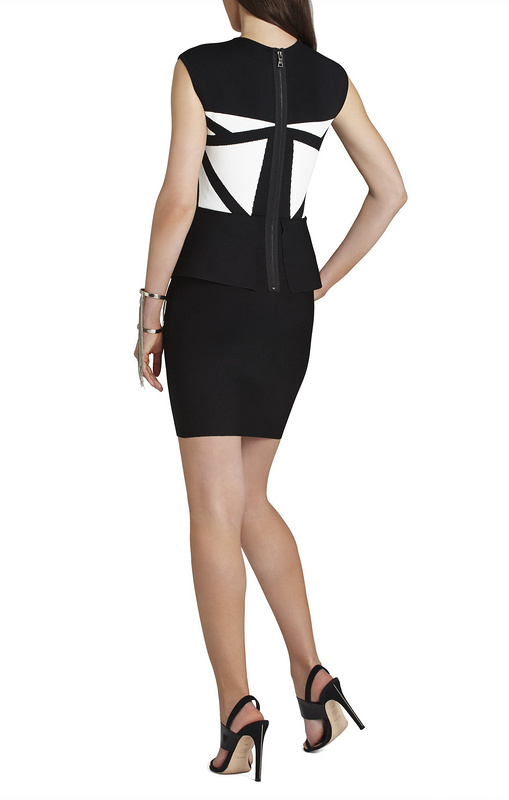 Herve Leger Black And White Colorblock Sleeveless Dress