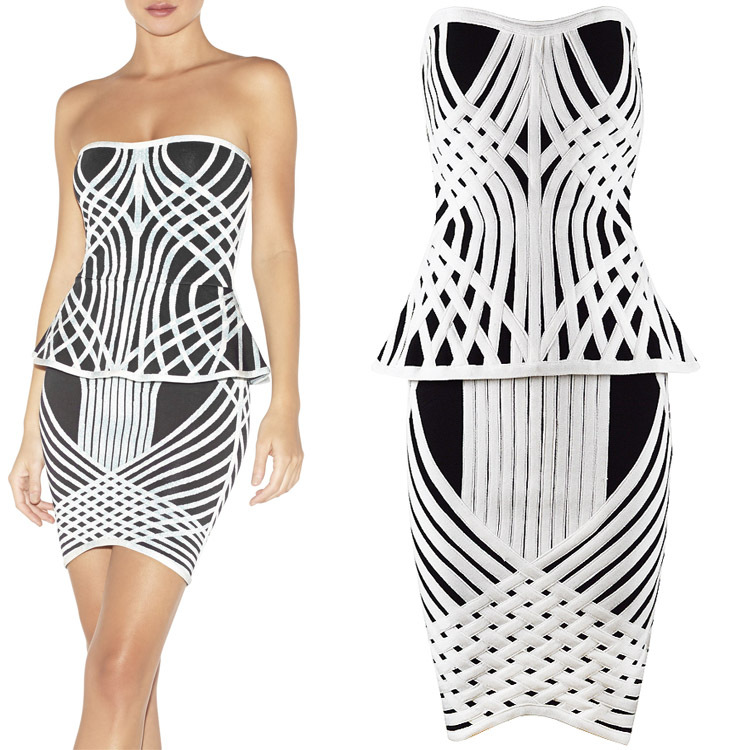 Herve Leger Black And White Colorblock Strapless Dress