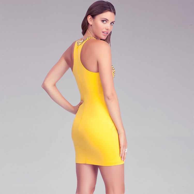 Herve Leger Black And Yellow Multi Color Beaded Bandage Dress