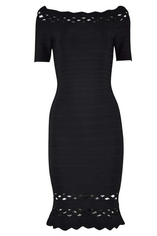 Herve Leger Black Hollow Short Sleeves Bandage Dress