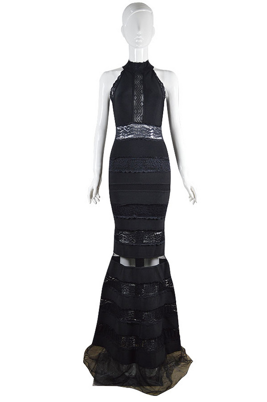 Herve Leger Black Lace Sleeveless Gown