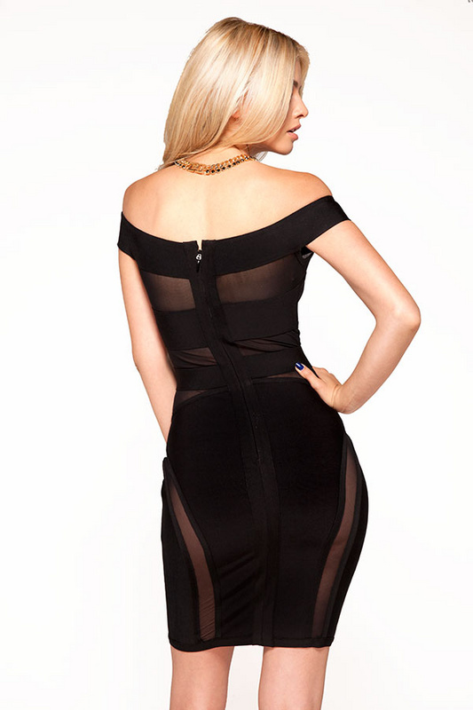 Herve Leger Black Off Shoulder Mesh Perspective Dress