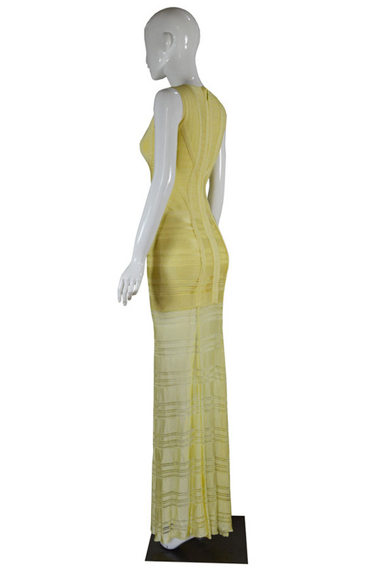 Herve Leger Black Red And Yellow Multi Color V Neck Gown