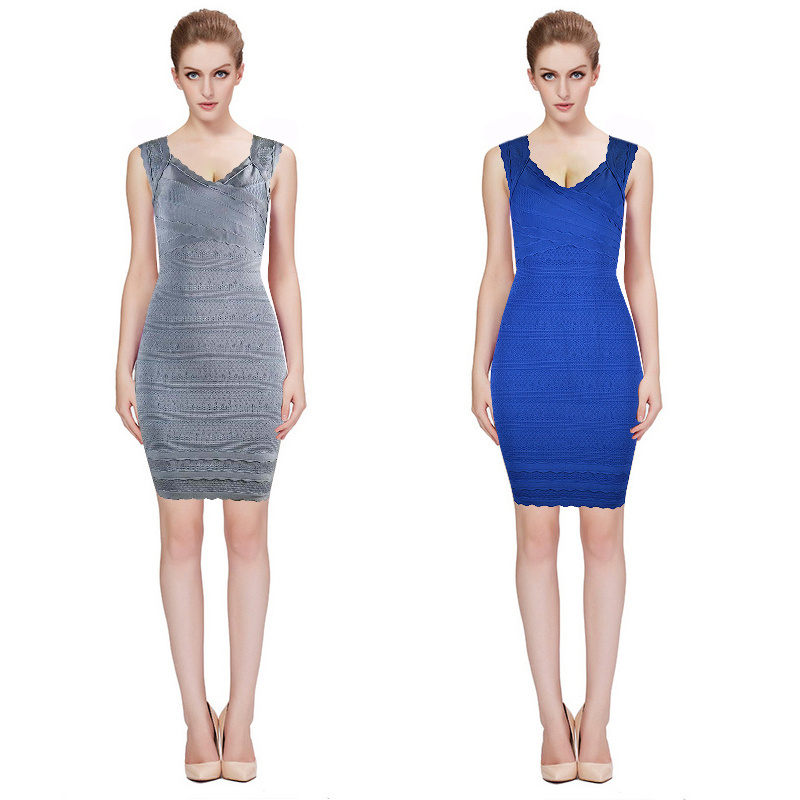 Herve Leger Blue And Gray Multicolor V Neck Bandage Dress