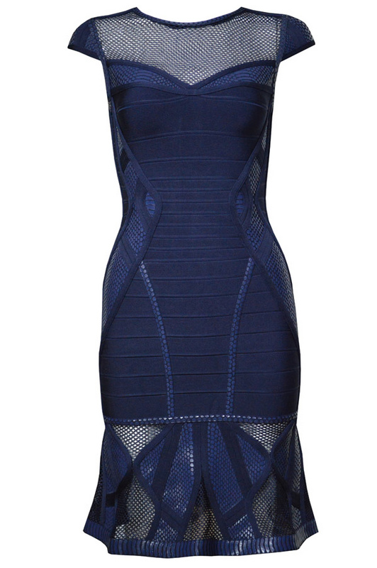 Herve Leger Blue And Pink Multi Color Mesh Stitching Round Neck Bandage Dress