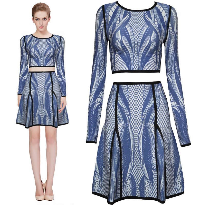 Herve Leger Blue And White Multicolor Long Sleeve Flared Dress