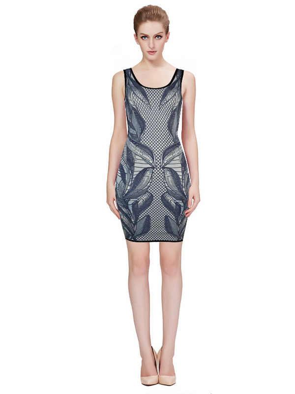 Herve Leger Blue Art Printing Round Neck Sleeveless Dress