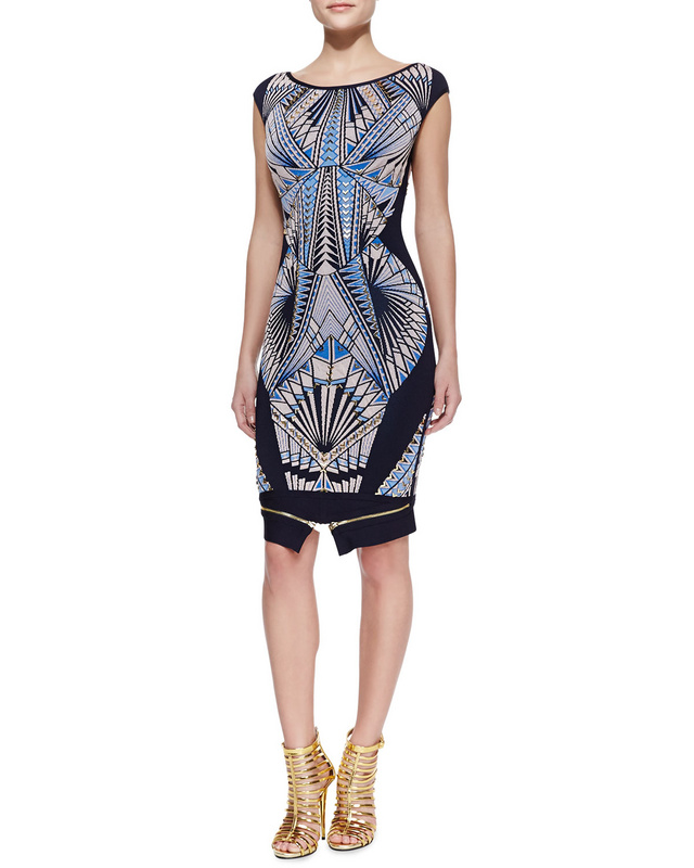 Herve Leger Blue Art Printing Sleeveless Bandage Dress