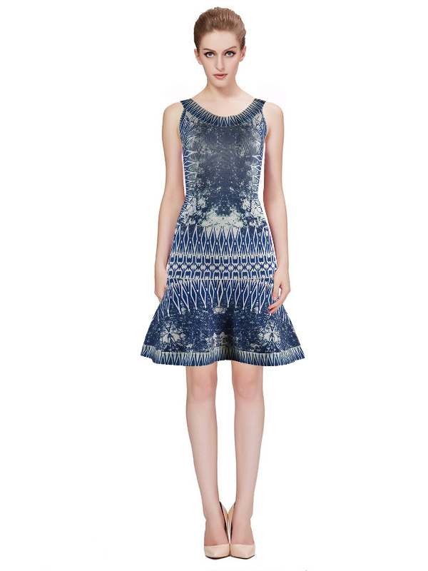 Herve Leger Blue Art Printing Sleeveless Dress