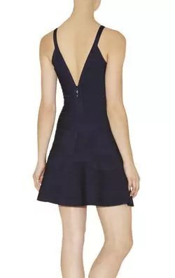 Herve Leger Blue Buckle V Neck Straps A Line Dress