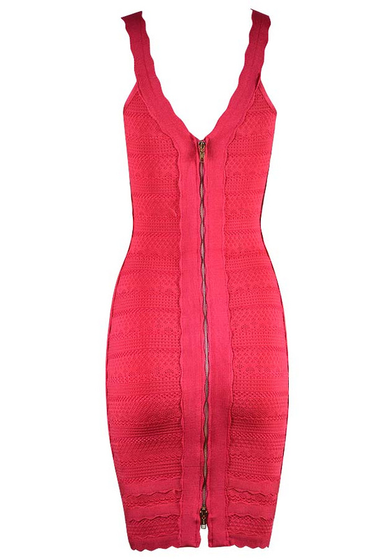 Herve Leger Blue Red And Gray Multicolor Sleeveless U Neck Dress