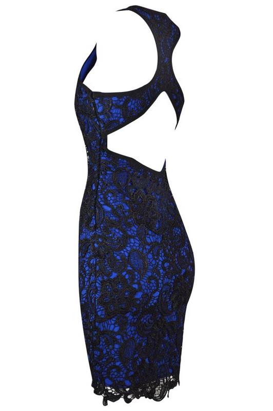 Herve Leger Blue Transparent Lace Sleeveless Dress