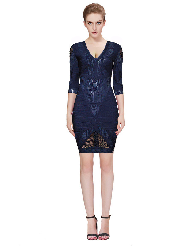 Herve Leger Blue V Neck Mid Sleeve Bandage Dress