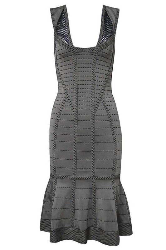 Herve Leger Dark Gray U Neck Sleeveless Hollow Flared Bandage Dress