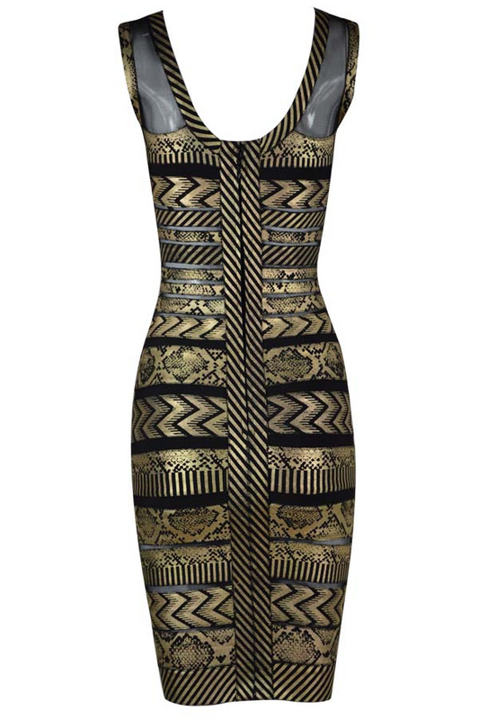 Herve Leger Golden Red And Black Multi Color Sleeveless Bandage Dress