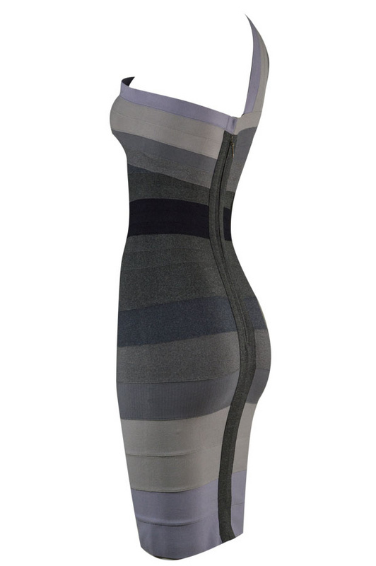 Herve Leger Gray And Red Multi Color Gradient One Shoulder Bandage Dress