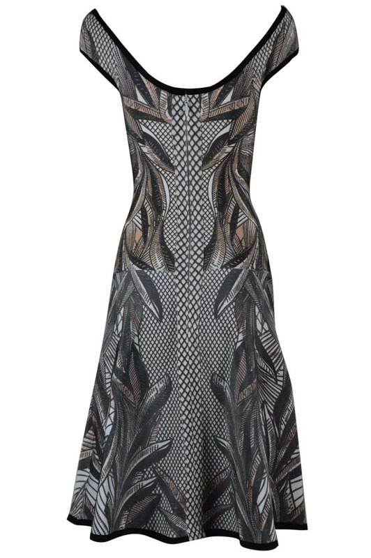 Herve Leger Gray Boat Neck Art Printing Bandage Dress