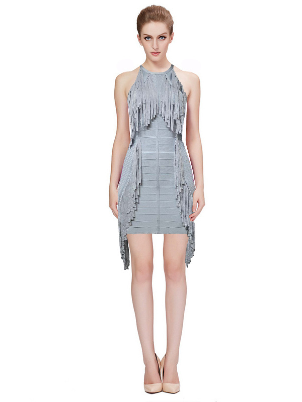Herve Leger Gray Fringe Sleeveless Bandage Dress
