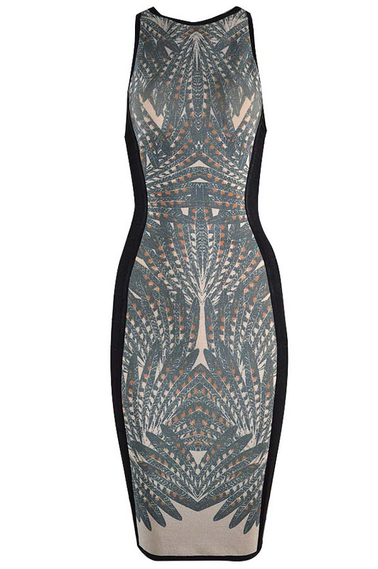 Herve Leger Gray Sleeveless Round Neck Printing Bandage Dress