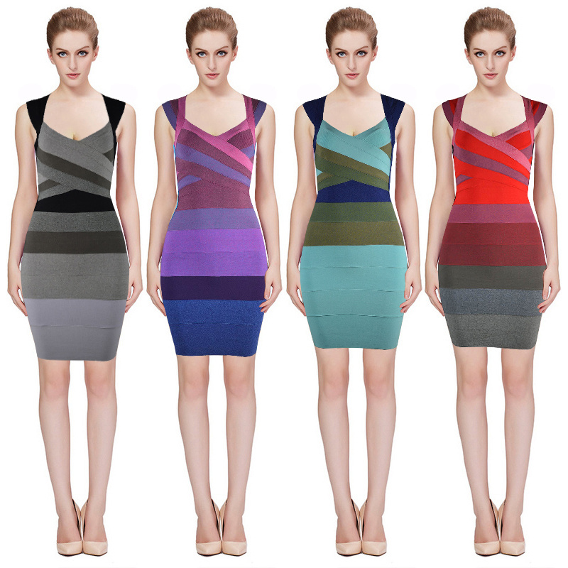 Herve Leger Grey Blue Purple And Red Multicolor Sleeveless Dress