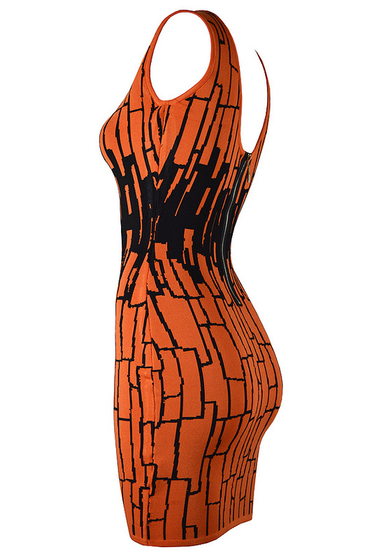 Herve Leger Multicolor Sleeveless Round Neck Bandage Dress