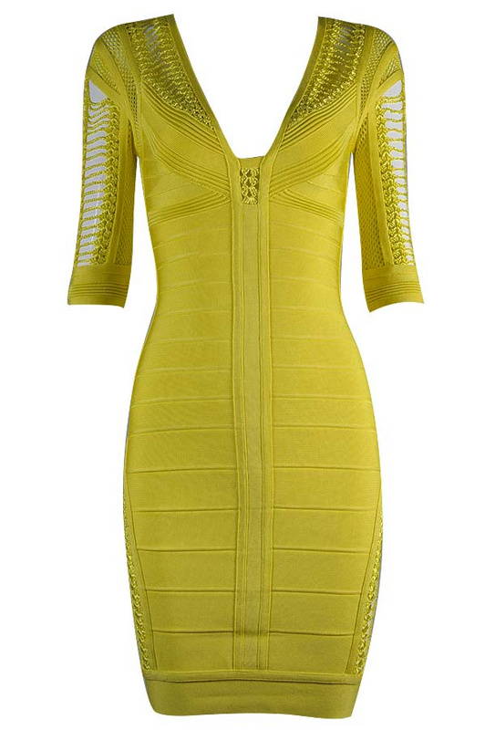 Herve Leger Nude Blue Yellow And Purple Multi Color V Neck Hollow Dress